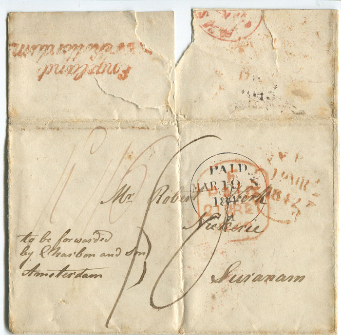 1842 (18 Mar) cover from Dunfermline, Scotland to Surinam