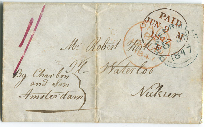 1847 (8 Jun) cover from Dunfermline, Scotland to Surinam