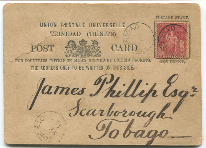 1882 (27 Apr) Trinidad postal stationery 1d formular card to Tobago
