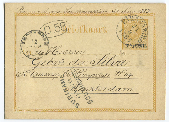 1883 (21 Aug) 7�c on 12�c yellow postal card used to Amsterdam