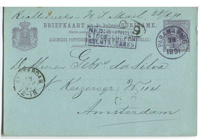 1891 (28 Aug) 5c postal card used to Amsterdam