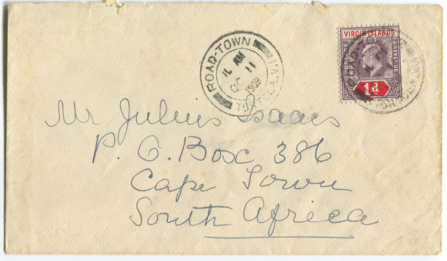 1909 (11 Oct) cover to South Africa