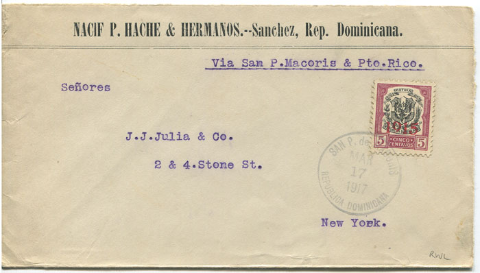 1917 cover to New York