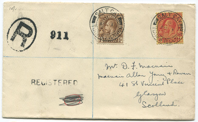 1932 (1 Aug) reg. cover to Scotland
