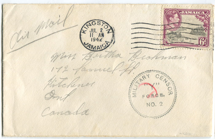 1942 (2 July) airmail cover from Jamaica to Canada