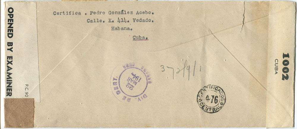 1944 (22 Mar) F/S size airmail cover to Argentina