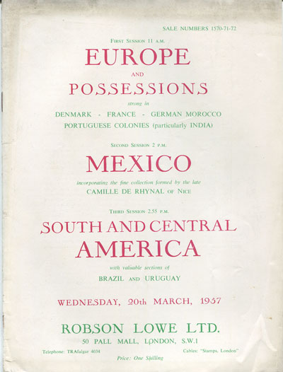 1957 (20 Mar) Europe & Possessions, Mexico and S & C America