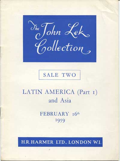 1959 (16 Feb) John Lek collection, sale 2. - Latin America (Part 1) and Asia