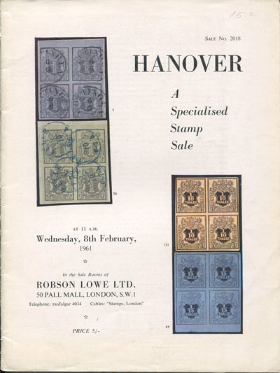 1961 (8 Feb) Hanover, a specialised stamp sale.