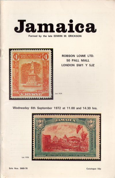 1972 (6 Sep) E.M. Erickson collection of Jamaica.