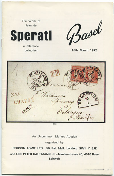 1972 (16 Mar) The Work of Jean de Sperati. - A reference collection.