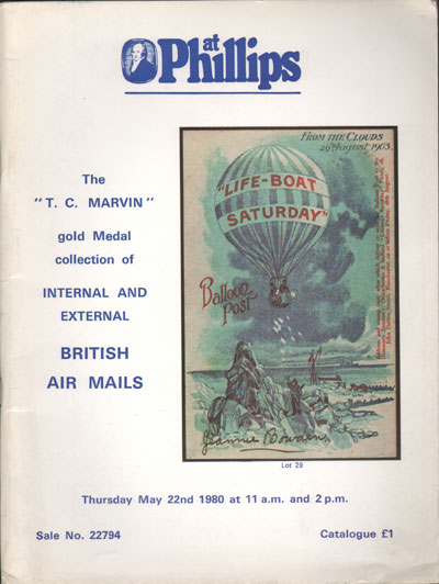 1980 (22 May) T.C. Marvin collection of Internal and External British Air Mails.