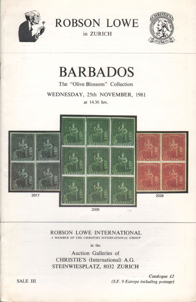 1981 (25 Nov) Olive Blossom collection of Barbados.