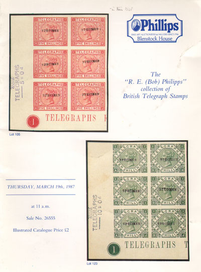 1987 (19 Mar) R.E. Phillips collection of British Telegraph Stamps