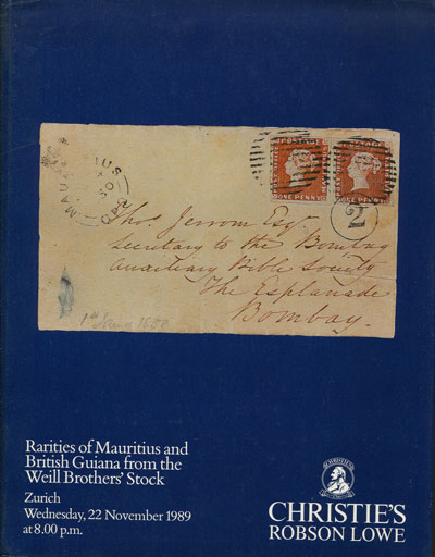 1989 (22 Nov) rarities of Mauritius and Br. Guiana from the Weill Bros. stock.