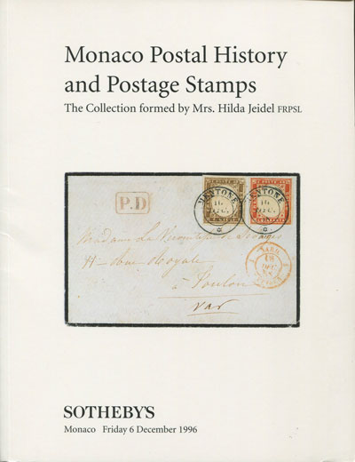 1996 (6 Dec) Monaco postal history and postage stamps. - Collection formed by Mrs Hilda Jeidel