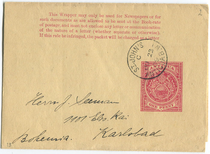 1909 Antigua postal stationery 1d wrapper