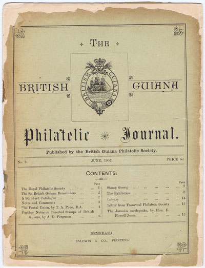 BRITISH GUIANA PHILATELIC SOCIETY The British Guiana Philatelic Journal. - No. 2