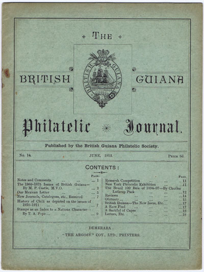 BRITISH GUIANA PHILATELIC SOCIETY The British Guiana Philatelic Journal. - No. 14