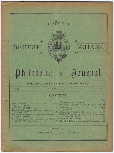BRITISH GUIANA PHILATELIC SOCIETY The British Guiana Philatelic Journal. - No. 18
