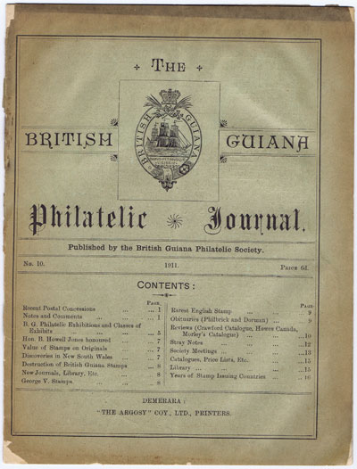 BRITISH GUIANA PHILATELIC SOCIETY The British Guiana Philatelic Journal. - No. 10
