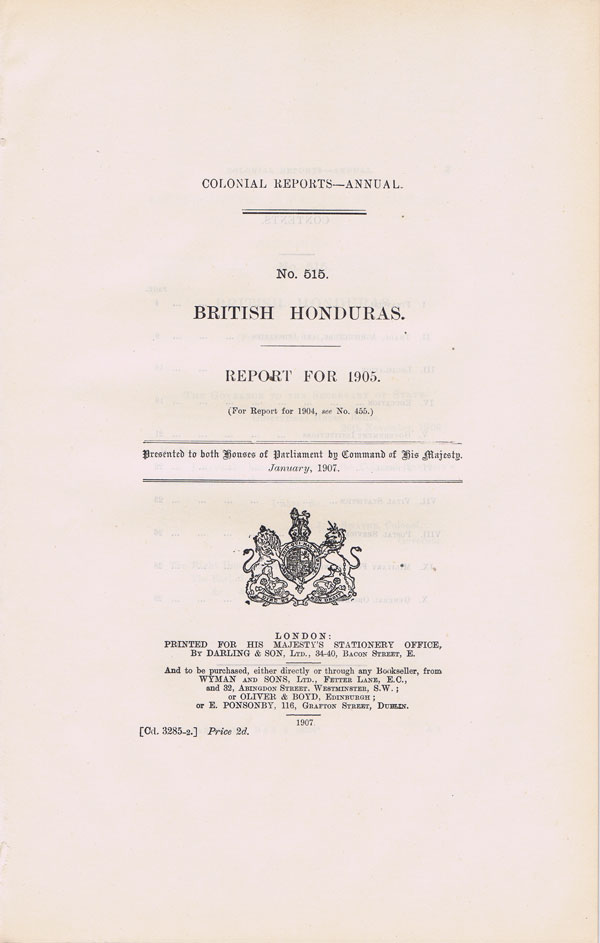 BRITISH HONDURAS Report for 1905.