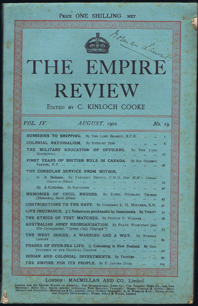 COOKE C.K. The Empire Review. - Vol. IV, No 19, August 1902