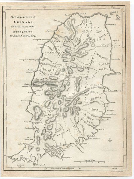 EDWARDS B. Map of the Island of Grenada - for the History of the West Indies