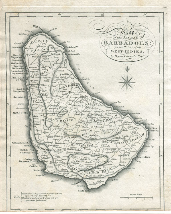 EDWARDS B. Map of the Island of Barbadoes; - for the History of the West Indies by Bryan Edwards Esq.