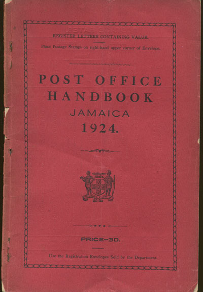 JAMAICA Post Office Handbook, Jamaica, 1924.