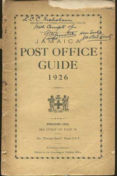 JAMAICA Post Office Handbook, Jamaica, 1926.