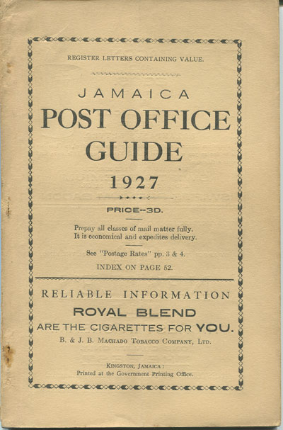JAMAICA Post Office Handbook, Jamaica, 1927.