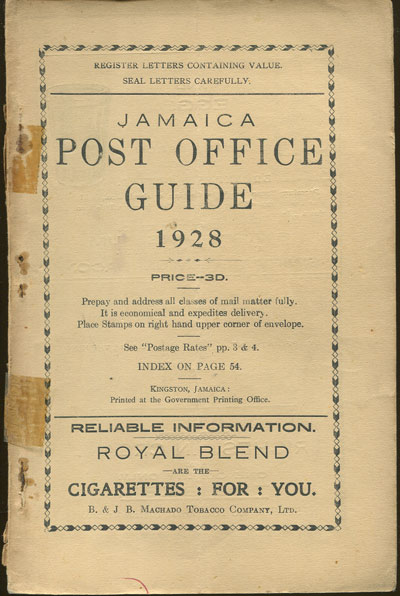 JAMAICA Post Office Handbook, Jamaica, 1928.
