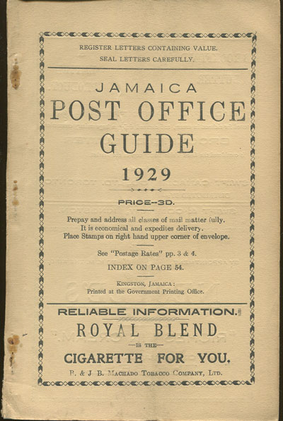 JAMAICA Post Office Handbook, Jamaica, 1929.
