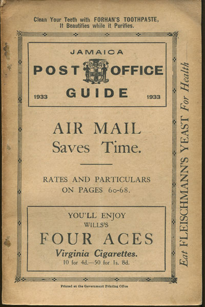 JAMAICA Post Office Handbook, Jamaica, 1933.