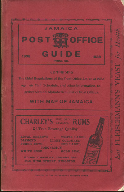 JAMAICA Post Office Handbook, Jamaica, 1938.