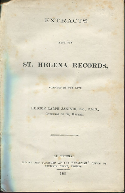 JANISCH H.R. Extracts from the St Helena Records