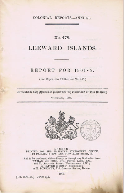 LEEWARD ISLANDS Report for 1904-5.