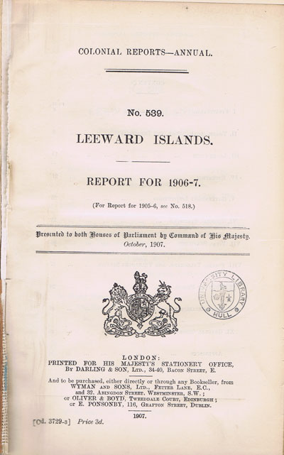 LEEWARD ISLANDS Report for 1906-7.