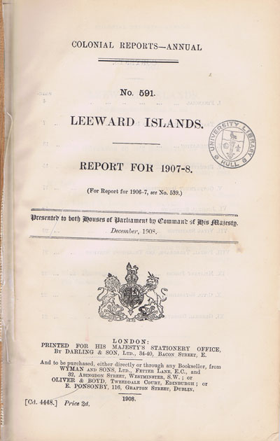 LEEWARD ISLANDS Report for 1907-8.