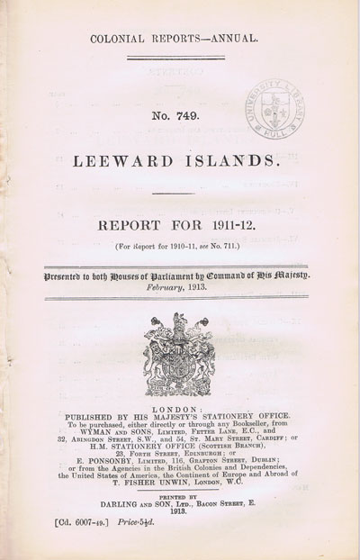 LEEWARD ISLANDS Report for 1911-12.