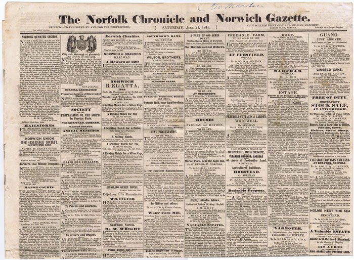 1845 Norfolk Chronicle and Norwich Gazette. - Saturday June 21