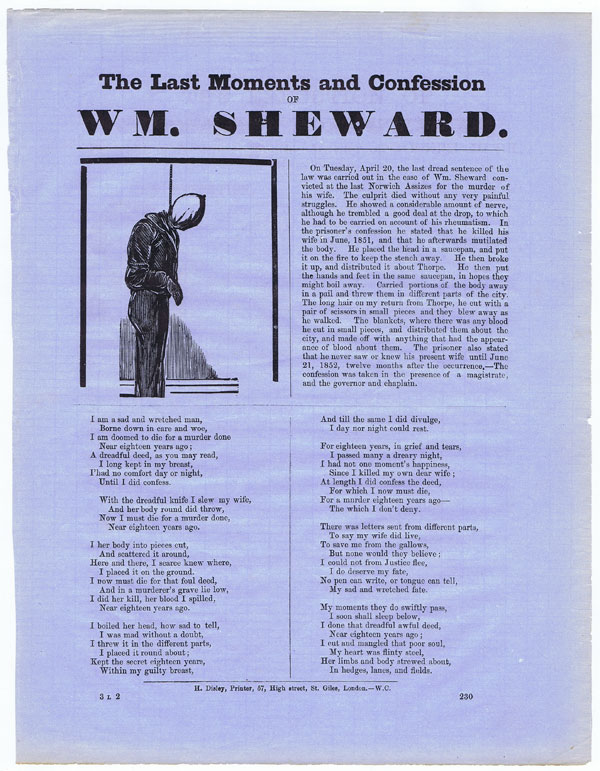 SHEWARD Wm. The Last Moments and Confession of Wm. Sheward.