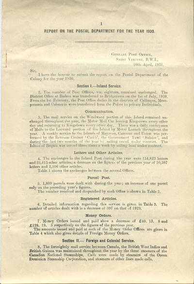 ST VINCENT Report on the postal department for the year 1930