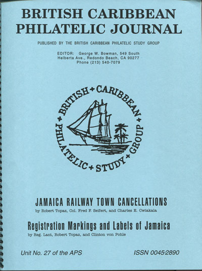 TOPAZ R. and SEIFERT F. & CWIAKALA C. Jamaica railway town cancellations & - Registration markings and labels of Jamaica.