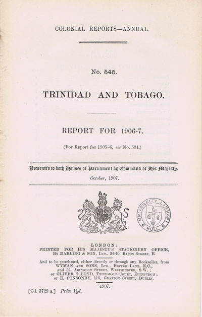 TRINIDAD AND TOBAGO Report for 1906-7.