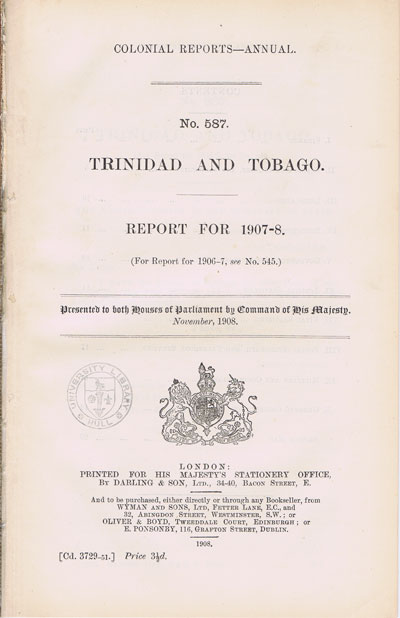 TRINIDAD AND TOBAGO Report for 1907-8.