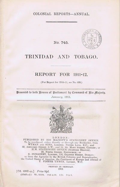 TRINIDAD AND TOBAGO Report for 1911-2.