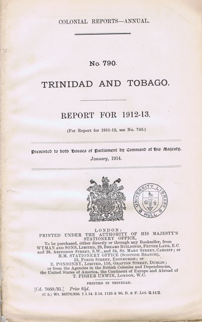 TRINIDAD AND TOBAGO Report for 1912-3.
