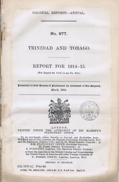 TRINIDAD AND TOBAGO Report for 1914-5.